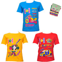 Kids Printed Cotton Tshirts Combo -Pack Of 3
