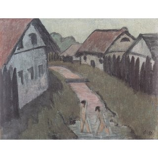 The Museum Outlet - Otto Mueller - Dorfbach mit Badenden - ca1928 - Poster Print Online Buy (24 X 32 Inch)