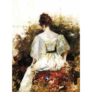The Museum Outlet - Portrait of a Woman - The White Dress, 1888-90 - Poster Print Online Buy (24 X 32 Inch)