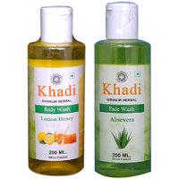 Khadi 1 Lemon Honey Body Wash And 1 Aloever Face Wash  Combo