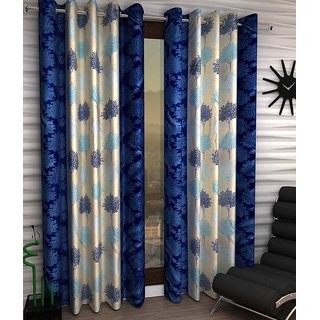 onclickdeal Curtains In  Blue and cream Heavy Crush Material (set of 2)-4 feet X 7 feet