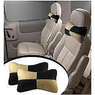 DLT Designer Car Seat Neck Cushion Pillow - Beige and Black Colour