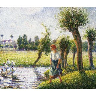 The Museum Outlet - Peasant Woman Watching the Geese, 1890 - Poster Print Online Buy (24 X 32 Inch)