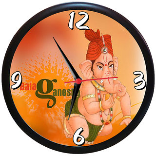 Sky Trends Diwali Festival Gift Bala Ganesh Ji With Laddu Design Wall Clock Analog  (Multicolour, With Frame) Unique Gifts 9 inc
