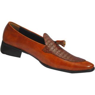 Mclaine Premium Brown Textured Design Party Wear Shoes