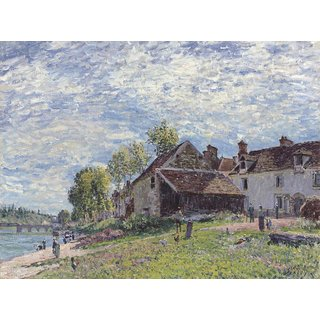 The Museum Outlet - Banks of the Loing at Saint-Mammes in Summer, 1883 - Poster Print Online Buy (30 X 40 Inch)