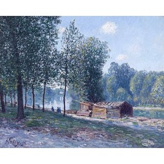 The Museum Outlet - Cabins at the Bank of Loing, Morning Effect, 1896 - Poster Print Online Buy (30 X 40 Inch)