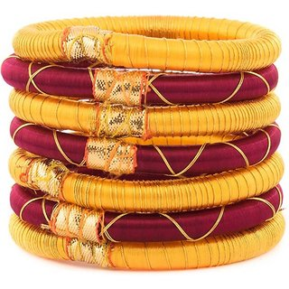 Kuhuk Plastic, Silk Dori Bangle Set (Pack of 7)