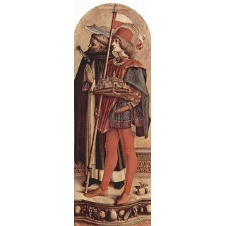 The Museum Outlet - Altartriptychon, rechte Tafel - Hl. Petrus Martyrer und Hl. Venetianus von Camerino - Poster Print Online Buy (24 X 32 Inch)
