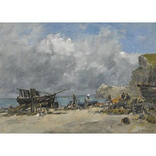 The Museum Outlet - Etretat, Fishing Boats and Fishers at the Beach, 1890 (Sothebys Vers.) - Poster Print Online Buy (24 X 32 Inch)