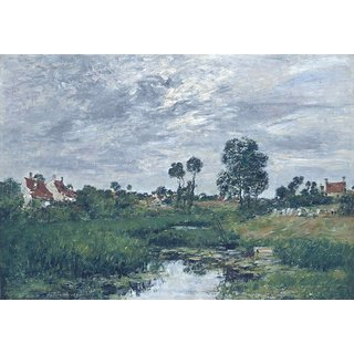 The Museum Outlet - Farmhouses in the Outskirts of Dunkerque, 1889 - Poster Print Online Buy (24 X 32 Inch)