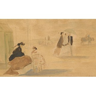 The Museum Outlet - Figures on the Beach, 1866 - Poster Print Online Buy (24 X 32 Inch)