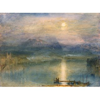 The Museum Outlet - Moonlight on Lake Lucerne with the Rigi in the Distance, Switzerland, 1841 - Poster Print Online Buy (24 X 32 Inch)