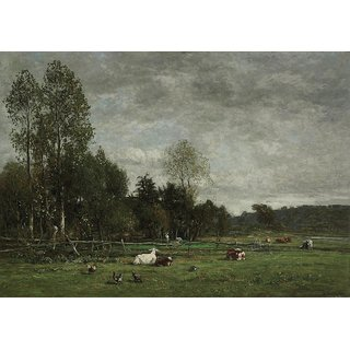 The Museum Outlet - Pasture in the Outskirts of Honfleur, 1856 - Poster Print Online Buy (24 X 32 Inch)