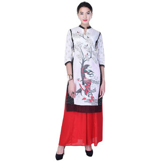Heritage Jaipur Cotton Embroidery Embroidery White Kurti  With Rayon Solid Palazzo