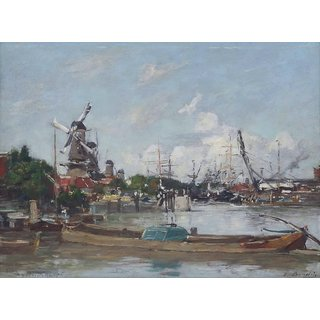 The Museum Outlet - Rotterdam, Port and Windmills, 1876 - Poster Print Online Buy (24 X 32 Inch)