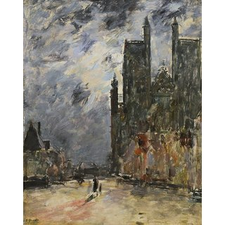 The Museum Outlet - Abbeville, the Collegiate Church at Night, 1890-94 - Poster Print Online Buy (24 X 32 Inch)