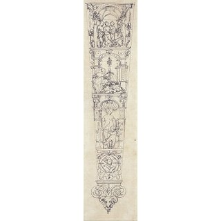 The Museum Outlet - Design for a Scabbard with the Judgement of Paris, Pyramus and Thisbe, and Venus and Cupid. c.1530 - Poster Print Online Buy (24 X 32 Inch)