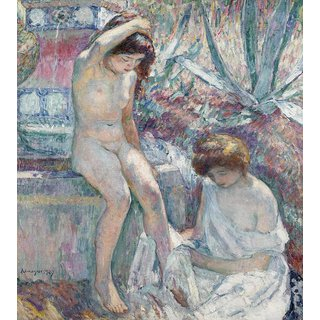 The Museum Outlet - Saint-Tropez, Madame Lebasque and Marthe near Fountain, 1907 - Poster Print Online Buy (24 X 32 Inch)