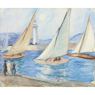 The Museum Outlet - Starting the Regatta, St. Tropez, 1920s - Poster Print Online Buy (24 X 32 Inch)