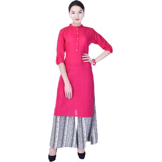 Heritage Jaipur Pink Solid Cotton Flux Kurti  With Cotton Printed Palazzo