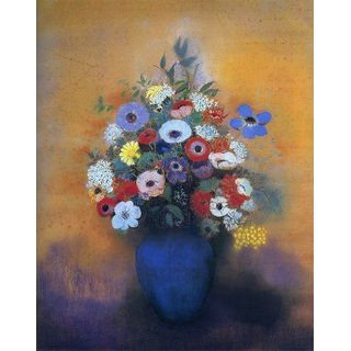 The Museum Outlet - Mimosas, Anemonies and Lilac in a Blue Vase, 1913-16 - Poster Print Online Buy (24 X 32 Inch)