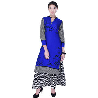 Heritage Jaipur Blue Printed Rayon Kurti  With Cotton Printed Palazzo
