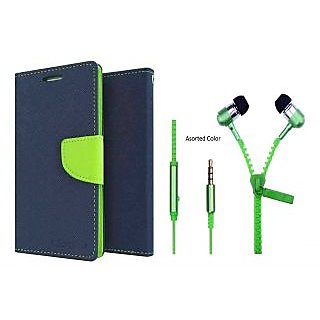 Sony Xperia C WALLET FLIP CASE COVER (BLUE) With Zipper Earphone