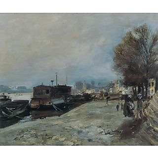 The Museum Outlet - Laundry Boat by the Banks of the Seine, near Paris, 1872-73 - Poster Print Online Buy (24 X 32 Inch)