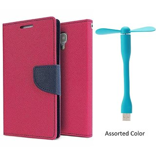 Samsung Galaxy A3 WALLET FLIP CASE COVER (PINK) With USB FAN