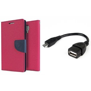 Micromax Yu Yureka WALLET FLIP CASE COVER (PINK) With OTG CABLE