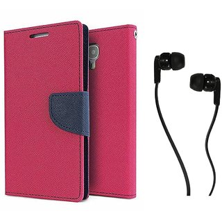 Samsung Galaxy E5 WALLET FLIP CASE COVER (PINK) With 3.5 MM JACK Earphone