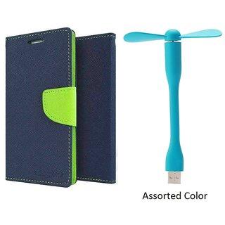HTC Desire 620 WALLET FLIP CASE COVER (BLUE) With USB FAN