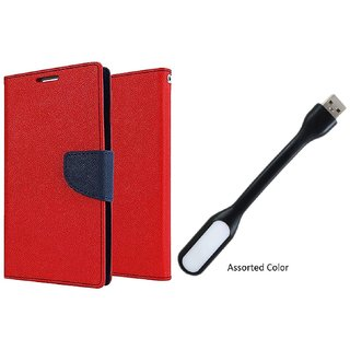 Lenovo A5000 WALLET FLIP CASE COVER (RED) With USB LIGHT