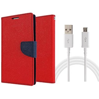 Samsung Galaxy E5 WALLET FLIP CASE COVER (RED) With USB CABLE