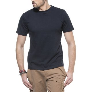 Indiashops Mens Cotton Black Solid Round Neck T-Shirt