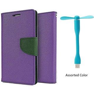 HTC Desire 828 WALLET FLIP CASE COVER (PURPLE) With USB FAN