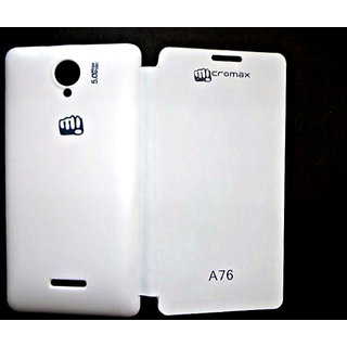 Micromax Canvas Fun A76 Flip Cover White available at ShopClues for Rs.169