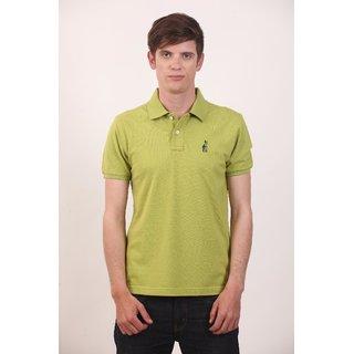 Smokestack Cotton V Neck Half Sleeves Men's Polo T-Shirt (Red)