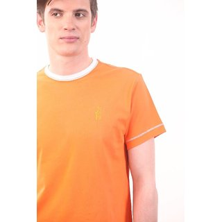 Smokestack Cotton Round Neck Half Sleeves Men's T-Shirt (Orange)