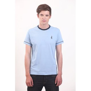 Smokestack Cotton Round Neck Half Sleeves Men's T-Shirt (Blue)
