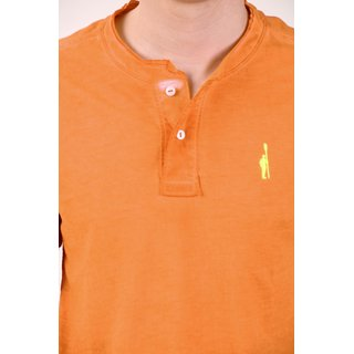 Smokestack Cotton Henley Neck Half Sleeves Men's T-Shirt (Orange)