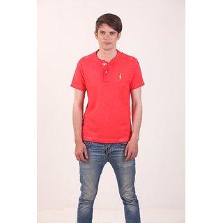 Smokestack Cotton Henley Neck Half Sleeves Men's Polo T-Shirt (Red)