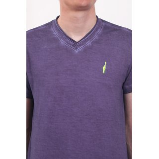 Smokestack Cotton V Neck Half Sleeves Men's T-Shirt (Purple)
