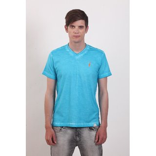 Smokestack Cotton V Neck Half Sleeves Men's T-Shirt (Blue)
