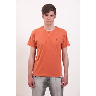 Smokestack Cotton V Neck Half Sleeves Men's T-Shirt (Orange)
