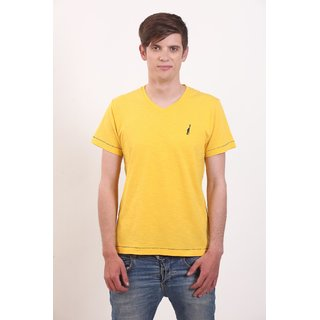 Smokestack Cotton V Neck Half Sleeves Men's T-Shirt (Yellow)