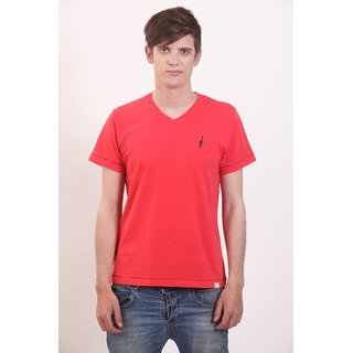 Smokestack Cotton V Neck Half Sleeves Men's T-Shirt (Red)