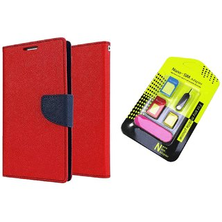 Lenovo A5000 WALLET FLIP CASE COVER (RED) With NANO SIM ADAPTER