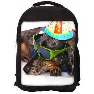 Snoogg A Dogs Life Having Fun At A Party Digitally Printed Laptop Backpack